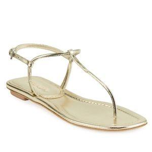b8b9cd34b5b1e9 Prada Flat Gold Metallic Leather T-Strap Sandals
